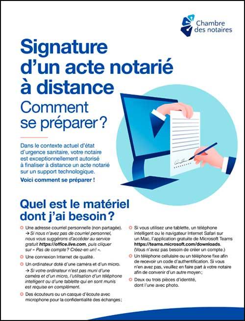 Signature d'un acte notarié à distance